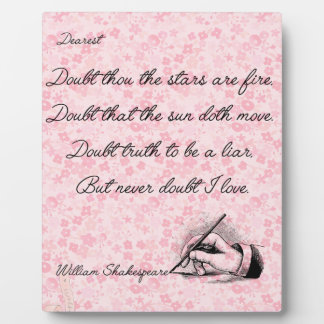 Shakespeare Love Quote With Easel Plaque