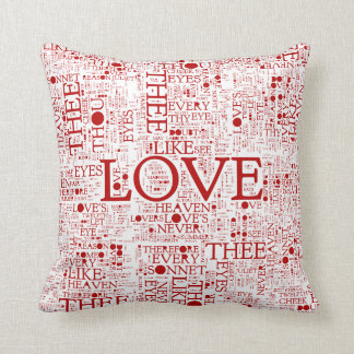 Shakespeare Love Words Throw Pillow