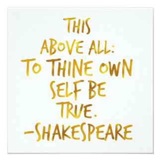 Shakespeare Motivational Quote Gold Faux Foil Card