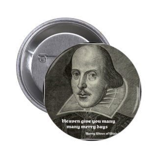 SHAKESPEARE PORTRAIT WITH QUOTE PINBACK BUTTON