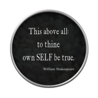 Shakespeare que la cita a Thine posee a uno mismo Frascos De Caramelos
