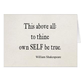 Shakespeare que la cita a Thine posee a uno mismo Tarjeta De Felicitación