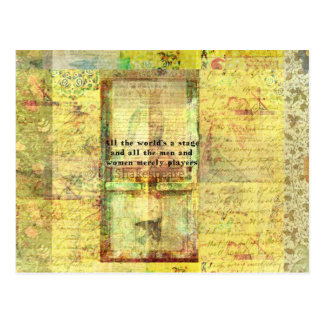 Shakespeare quote All the world's a stage ART Postcard