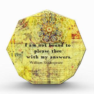 Shakespeare Quote Acrylic Award