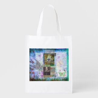 Shakespeare quote forget and forgive with art grocery bag