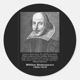 Shakespeare Quote Midsummer Night's Dream Classic Round Sticker