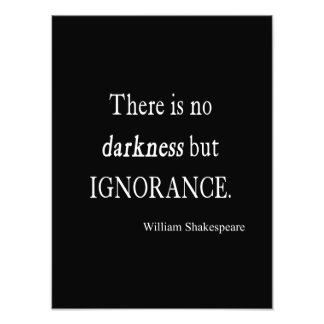 Shakespeare Quote No Darkness but Ignorance Quotes Photo Print