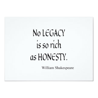 Shakespeare Quote No Legacy So Rich as Honesty Card