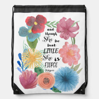 Shakespeare Quote She is Little and Fierce Bag
