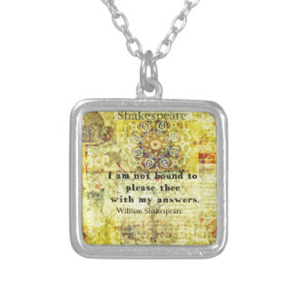 Shakespeare Quote Silver Plated Necklace