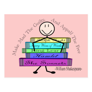 Shakespeare Quote Stick People Design Postcard