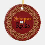 Shakespeare Rocks Red and Gold Keepsake Gift Double-Sided Ceramic Round Christmas Ornament