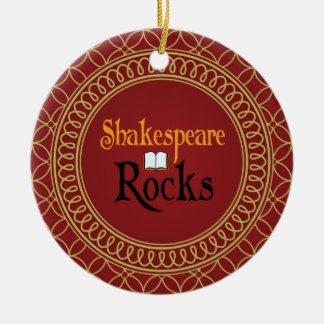 Shakespeare Rocks Red and Gold Keepsake Gift Christmas Tree Ornaments