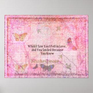 Shakespeare Romantic Love quote art typography Poster