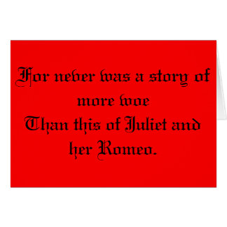 Shakespeare Romeo and Juliet Card