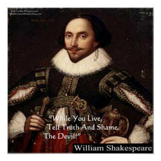 "Shakespeare ""Shame Devil"" Wisdom Quote Poster"