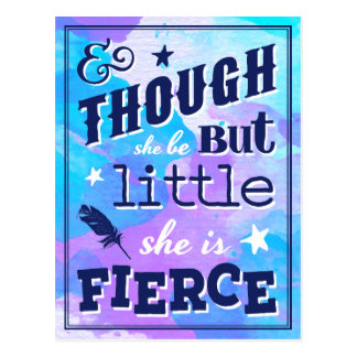 Shakespeare She is Fierce Quote Typographic Postcard