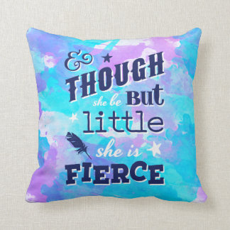 Shakespeare She is Fierce Quote Typographic Throw Pillow