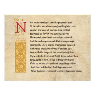 Shakespeare Sonnet 107 (CVII) on Parchment Flyer