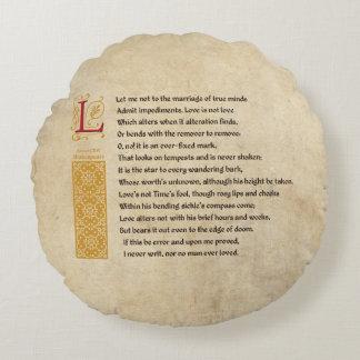 Shakespeare Sonnet 116 (CXVI) on Parchment Round Pillow