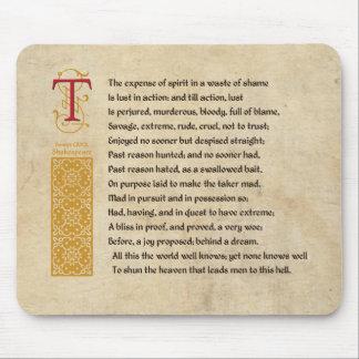Shakespeare Sonnet 129 (CXXIX) on Parchment Mouse Pad