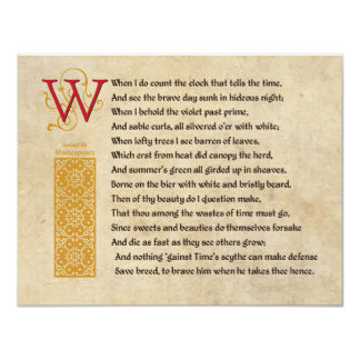 Shakespeare Sonnet 12 (XII) on Parchment Card