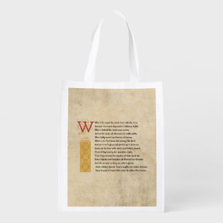 Shakespeare Sonnet 12 (XII) on Parchment Grocery Bag