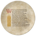 Shakespeare Sonnet 12 (XII) on Parchment Porcelain Plate