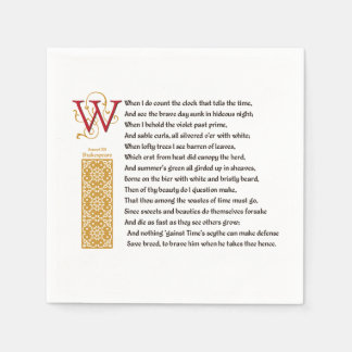 Shakespeare Sonnet 12 (XII) on Parchment Paper Napkin