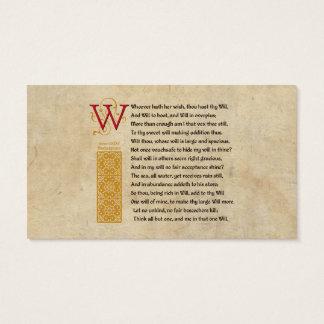 Shakespeare Sonnet 135 (CXXXV) on Parchment Business Card
