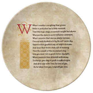 Shakespeare Sonnet 15 (XV) on Parchment Dinner Plate
