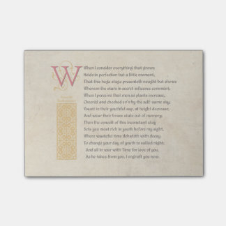 Shakespeare Sonnet 15 (XV) on Parchment Post-it Notes