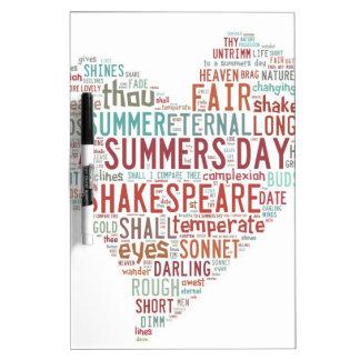 Shakespeare Sonnet 18 Dry Erase Board