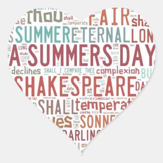 Shakespeare Sonnet 18 Heart Sticker