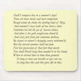 Shakespeare Sonnet # 18 Mouse Pad