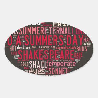 Shakespeare Sonnet 18 Oval Sticker