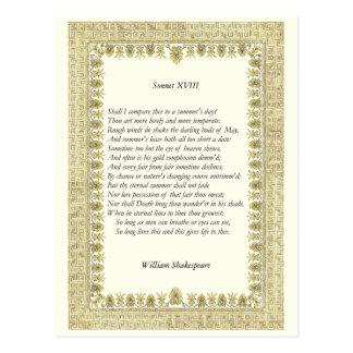 Shakespeare Sonnet # 18 Post Cards