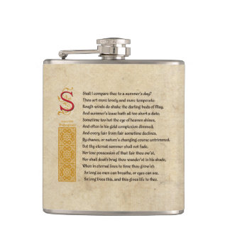 Shakespeare Sonnet 18 (XVIII) on Parchment Flask