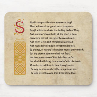 Shakespeare Sonnet 18 (XVIII) on Parchment Mouse Pad