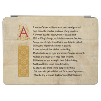 Shakespeare Sonnet 20 (XX) on Parchment iPad Air Cover