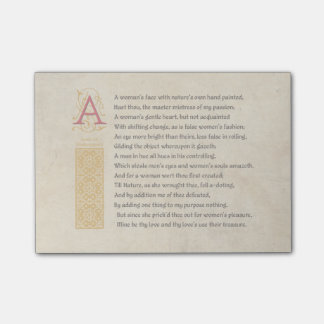 Shakespeare Sonnet 20 (XX) on Parchment Post-it® Notes
