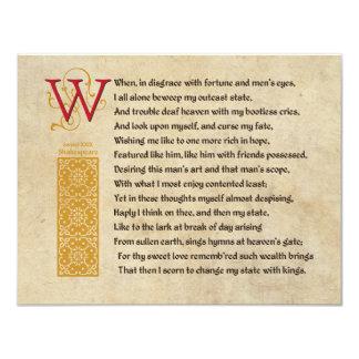 Shakespeare Sonnet 29 (XXIX) on Parchment Card