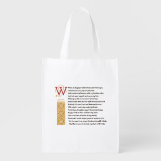 Shakespeare Sonnet 29 (XXIX) on Parchment Grocery Bag