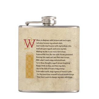 Shakespeare Sonnet 29 (XXIX) on Parchment Hip Flask