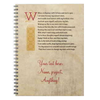 Shakespeare Sonnet 29 (XXIX) on Parchment Notebook