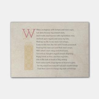Shakespeare Sonnet 29 (XXIX) on Parchment Post-it Notes