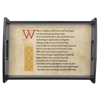 Shakespeare Sonnet 29 (XXIX) on Parchment Serving Tray
