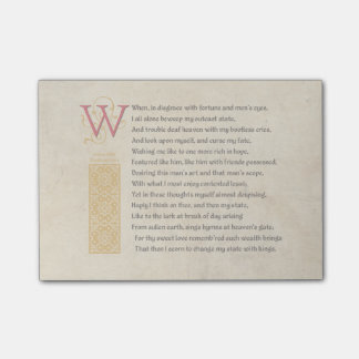 Shakespeare Sonnet 29 (XXIX) on Parchment Post-it® Notes