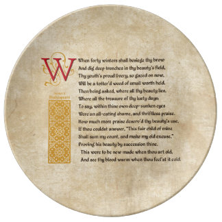 Shakespeare Sonnet 2 (II) on Parchment Dinner Plate
