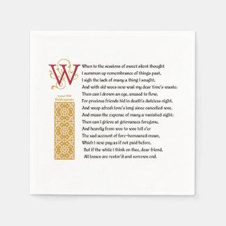 Shakespeare Sonnet 30 (XXX) on Parchment Napkin